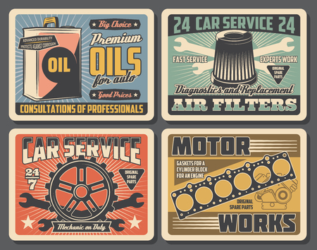 Auto spare parts, car service, repair and maintenance retro vector posters. Vehicle motor oil can, spanner and gear, air filter, cylinder gaskets and wrench, spare parts store or shop signboard