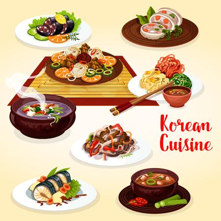 Vektorkoreanische Nudel Bibimbap mit Gemüse, Fleisch und Fisch. Kimchi, Tofusuppe und gegrillter Rinderbulgogi, Gemüsesalat, gebratener Fisch und gefüllter Tintenfisch, Blutwurst und Schweinefleischsuppe mit Stäbchen