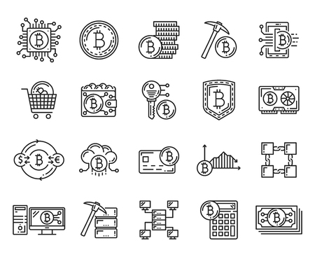 Cryptocurrency icons with crypto currency coin, bitcoin wallet and exchange calculator, blockchain, mining and encryption key, digital money secure transaction and payment vector symbols