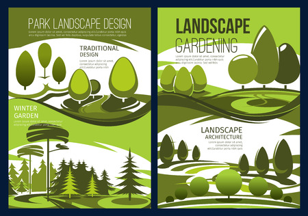 Landscape design and landscaping service vector banners with green garden tree, park lawn and forest nature view. Landscape architecture, gardening and horticulture theme