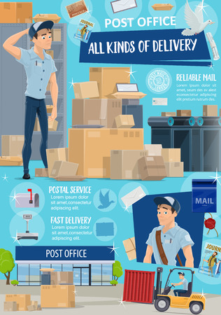 Post office, postal service, mail and parcel delivery. Cartoon postman or mailman with boxes and packages, letters, mailbox and postage stamp, pigeon, newspaper and correspondence, vector