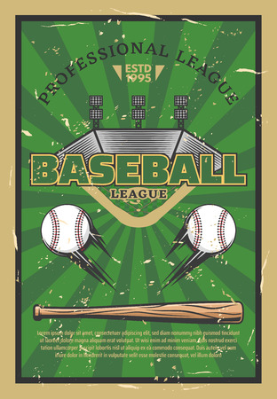 Baseball or softball sport game stadium field, balls, bat and infield bases. Baseball league tournament, sport club championship match announcement. Vector illustration Ilustrace