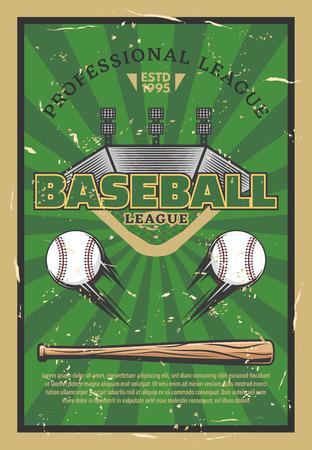 Baseball or softball sport game stadium field, balls, bat and infield bases. Baseball league tournament, sport club championship match announcement. Vector illustration Illustration