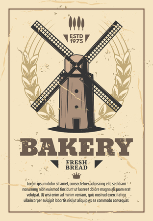 Mill, flour milling and bread bakery, vintage vector. Old windmill with grains of wheat and barley ears. Milling and agriculture company, bakery and grocery shop design