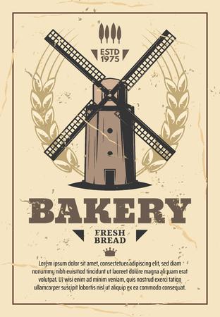 Moulin, meunerie et boulangerie de pain, vecteur vintage. Ancien moulin à vent avec grains de blé et épis d'orge. Conception d'une entreprise de meunerie et d'agriculture, d'une boulangerie et d'une épicerie