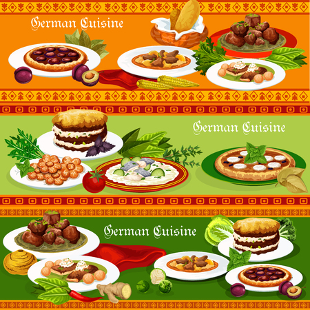 German cuisine meat stew with bavarian beer, pork roast with egg, sausage and potato casserole, fish stew, plum and apple fruit pie, kidney rice and cookie. Traditional meal of Germany, vector Illustration
