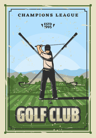 Golf sport, player on course. Vector champion league tournament poster. Golfer in uniform doing swing with ball, club and tee on green field. Crossed golf clubs on background