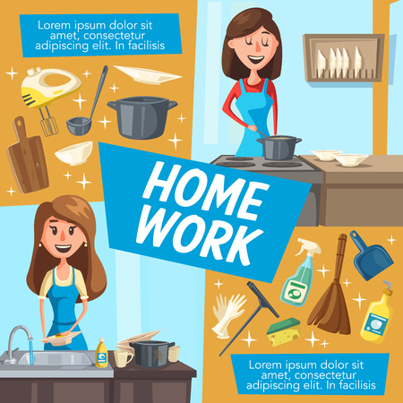 Woman doing housework or household chores. Housewife and young mom cooking and washing dishes in kitchen. House cleaning, vector mop and cleaner, broom and dustpan Stock Illustratie