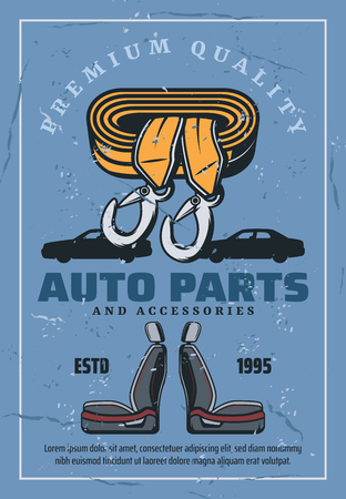 Auto spare parts and accessories, car repair service and mechanic garage. Car seats and towing rope with vintage vehicle silhouettes on background