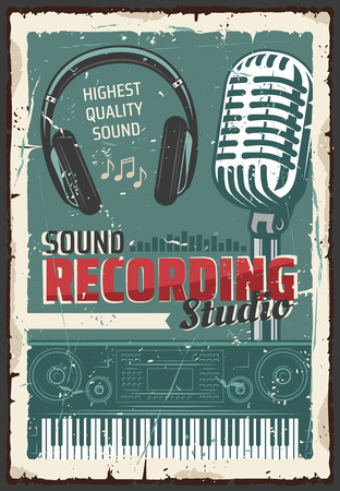 Music sound recording studio, retro microphone and headphones, equalizer wave, electric piano keyboard and musical notes, vector. Audio production and entertainment industry theme