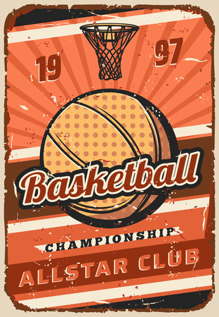 Basketball sport game championship match vector poster, ball and basket on orange court. Basketball playoff league sporting tournament announcement with sporting items