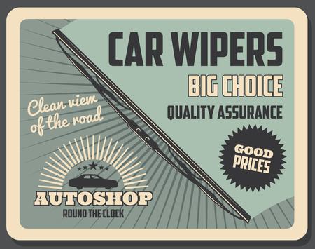 Windshield wipers, car repair and service, spare shop vector poster. Windscreen rubber blade or vehicle glass window cleaning tool, raindrop, road dirt and dust remover, retro design Foto de archivo - 110845019