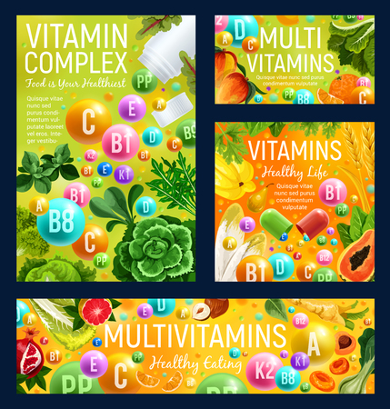 Vitamin complex of healthy food, fruits and vegetables. Natural sources of multivitamin in fresh herbs, organic orange and cabbage, mango, nuts and papaya. Vector vitamin capsules and pills Çizim
