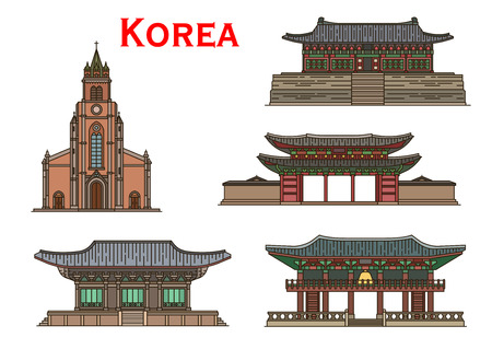 Korean travel landmarks vector icons of asian ancient architecture. Roman Catholic Myeongdong Cathedral, Bell Tower Bosingak and Bulguksa Temple, Changdeokgung Palace and Haeinsa Temple