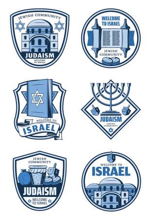 Judaism religion and Israel travel badges. Vector Hanukkah holiday menorah, Torah and Star of David, dreidel, honey and donuts, pomegranate and Jerusalem synagogue. Jewish religion, tourism symbols