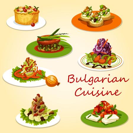 Salades et collations de la cuisine bulgare. Salades vectorielles de choux et poivrons, purée de pommes de terre au fromage et moussaka à la tomate, ragoût d'aubergines lutenica, toast au fromage de courgettes et lapin au four aux champignons