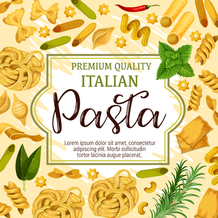 Italian pasta, spaghetti and macaroni, restaurant menu cover design. Vector penne, fusilli and farfalle, tagliatelle, fettuccine and rigate, lasagna, noodle, cannelloni and spice herbs 일러스트