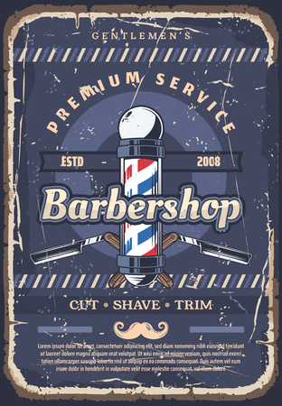 Barbershop, barber or hairdresser hair cut, beard shave and mustache trim service poster with barber red, white and blue pole, straight edge razor and moustache. Hairdressing saloon, vector