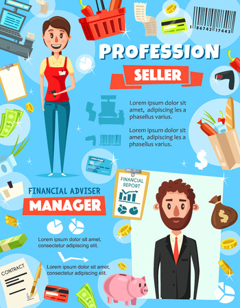 Financial advisor and seller occupation, finance and retail business. Manager and cashier or saleswoman with money and tax report graphs, cash register and trade icons. People professions, vector Ilustração