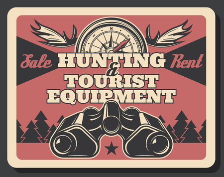 Hunting ammunition and tourist items with hunter binoculars and compass, antlers and forest tree landscape. Vector huntsman or scout camping gears, tourism, travel, vacation and outdoor adventure theme
