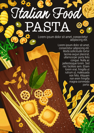 Pasta making of traditional italian food. Vector spaghetti, macaroni and fettuccine, penne, farfalle and ravioli, lasagna, rotelli and gnocchi pasta with flour, basil and olive on wooden cutting board Stock Vector - 110845061