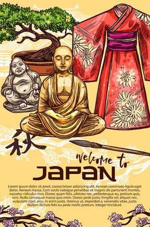 Welcome to Japan travel concept, symbols of japanese culture and religion. Geisha kimono, bonsai tree and pagoda, sakura branch, netsuke monk and Buddha statue. Vector sketch