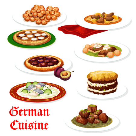 German cuisine sausage and potato casserole, meat stew with beer and pork schnitzel with egg, fish and seafood stew, kidney rice and sugar cookie, plum and apple fruit pie. Vector bavarian food Archivio Fotografico - 128161668