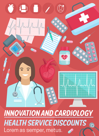 Cardiology and heart health medicine, cardiologist doctor, stethoscope, diagnostic tools and treatment. Cardiovascular examination, prevention disease, heart attack or failure, angina, stroke. Vector Illustration