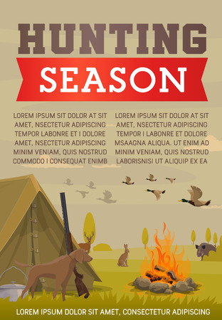 Duck and deer hunting season, hunter camp, gun, dog and shotgun, wild animals, birds and rifle, boar, elk and hare. Hunting sport, outdoor recreation vector theme