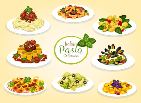 Platos de pasta italiana con carne, marisco, queso y verduras. Vector de espaguetis, macarrones y penne con salsa boloñesa de tomate, albóndigas y pesto, lasaña, alfredo y pasta carbonara