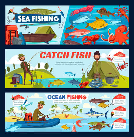 Fisherman fishing with rod and net from boat or shore. Bearded man fish catch, fishing tackle and equipment, hook, marlin and float, pike, perch and carp. Cartoon vector, sport and hobby