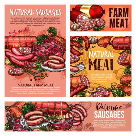 Meat sausages, pork ham and beef steak, salami, chicken legs and bacon slices, lamb roast, gammon, burger patty and pepperoni, vector sketches. Butcher shop products and barbeque meal 일러스트