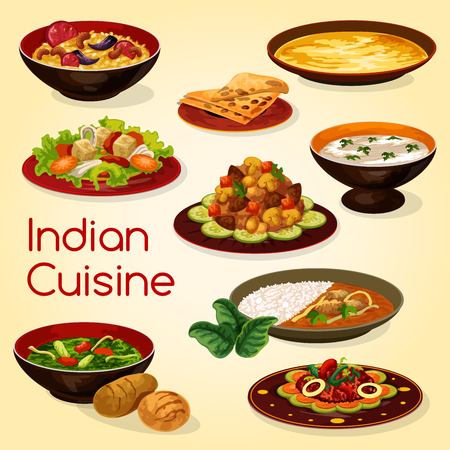 Indian cuisine dishes of rice with lamb curry, chapati bread and meat gravy. Chicken with spinach, rice pilaf or pulao biryani with nuts, almond soup and vegetable mushroom stew, vector food Illustration