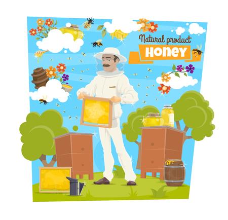 Apicultor en finca apícola con miel y abeja. Apicultor de vector en traje protector y sombrero con marco de colmena con peine, cera de abejas y miel natural, flores, tarro y olla de néctar dulce Ilustración de vector