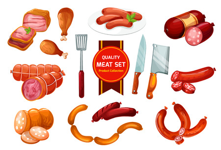 Meat sausage with ground beef and pork. Ham, chicken leg and bacon, smoked salami, wurst and frankfurter vector icons with slices and butcher knives. Meat shop, barbeque store or butchery design