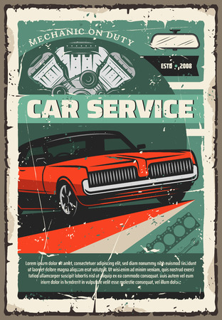 Car repair service of vintage auto, mechanic work tools and vehicle engine parts. Maintenance, diagnostics and repair service of old automobiles. Garage and mechanic workshop, vector Illustration