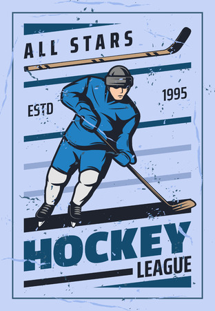 Ice hockey player with stick and puck skating on rink, vector retro poster. Winter sport game championship or league tournament match announcement