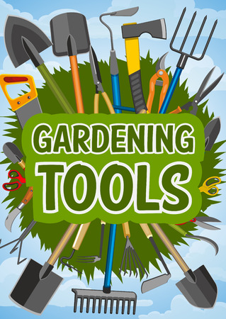 Gardening work tools of rake, shovel and fork, watering can, hose and trowel, bucket, wheelbarrow and pruner, axe, pitchfork and green grass. Farming and agriculture instruments, vector