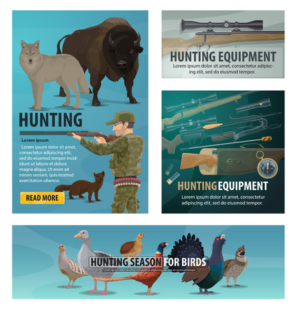 Hunting sport season, animals and birds, hunter equipment and weapon. Vector rifle, shotgun and wolf, goose, bison and pheasant, compass, flashlight and crossbow, quail, grouse and cartridge belt