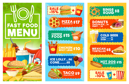Fast food menu of snacks, drinks and desserts. Hamburger, hot dog and taco sandwiches, pizza, chicken and fries, donut, coffee and soda, ice cream and popcorn. Combo meal, vector design