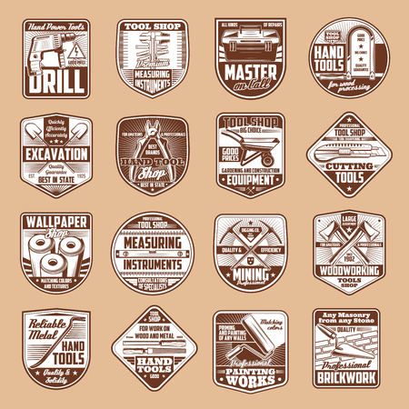 Tools vector icons with hammer, drill and ruler, spanner, paint roller and saw, axe, toolbox and trowel, pickaxe and shovel on vintage shield. Construction, carpentry, house repair and mining industry Stock Vector - 110845109