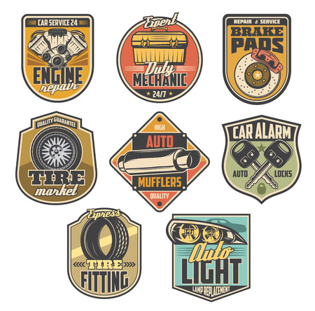 Car service vintage badges with auto repair tools and automotive spare parts. Motor vehicle engine, tyre and wheel, brake pads, auto lights and car alarm key vector symbols, mechanic garage station