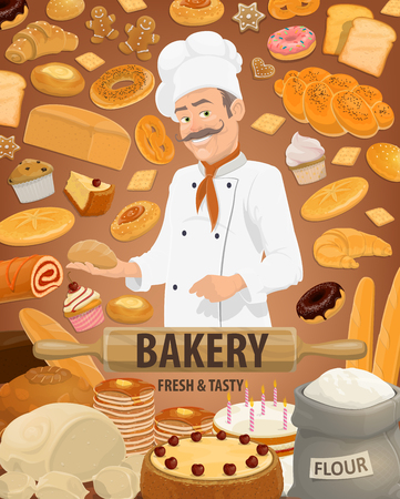 Bakery products, pastries, vector baker. Bread, cake and croissant, sweets and baguette, bagel, cookie and cupcake, muffin and macaroon, pie and pudding, bun and donut, flour bag, dough and rolling pin Illustration