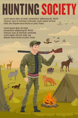 Hunter with hunting sport equipment, gun or shotgun weapon near camp tent and campfire. Cartoon huntsman, duck and deer, wolf, bear and fox, hare and elk animals. Hunting club poster, vector Ilustração