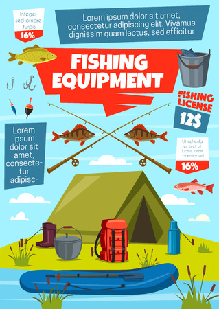 Fishing sport equipment and fisherman tackle with fish catch. Vector lure, bait and hook, rod, net and boat, bobber, reel and bucket, tent, boots and backpack on riverbank with salmon, trout and bass Illustration