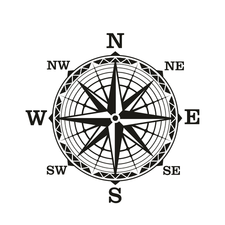 Compass wind rose, vector icon. Old vintage nautical navigation sign with star scale of north, south, east and west directions. Marine travel, adventure, sea discovery or ancient cartography theme