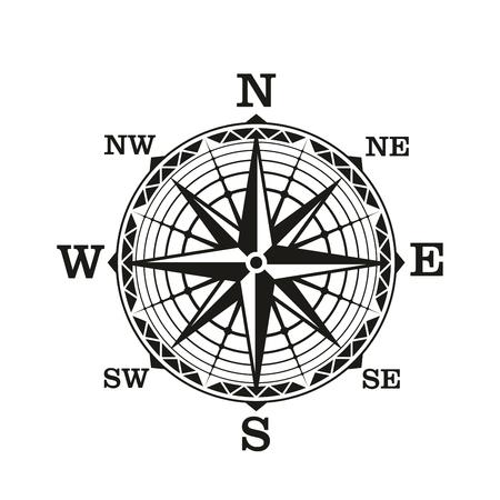 Kompas windroos, vector pictogram. Oud vintage nautisch navigatiebord met sterschaal van noord, zuid, oost en west richtingen. Zeereizen, avontuur, ontdekking op zee of een oud cartografiethema Vector Illustratie