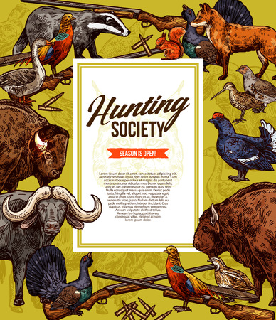 Hunting season wild animals, birds and hunter gun sketches. Buffalo, fox and pheasant, lynx, ox and bison, quail, badger and squirrel, goose, partridge and grouse, rifle and shotgun. Vector animals