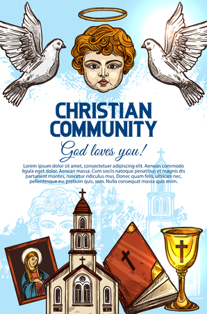 Christian catholic religion Holy Bible book, church of God Jesus Christ and cross, angel with halo, saint icon, doves and chalice sketches. Religious community or missionary, vector Illustration