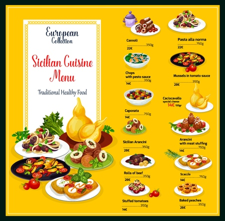 Sicilian cuisine menu design. Vector healthy traditional food of cannoli pastry, pasta alla norma or chops in pesto sauce, caponata or cachocavallo and arancini dessert, scaccia or mussels in tomato  イラスト・ベクター素材